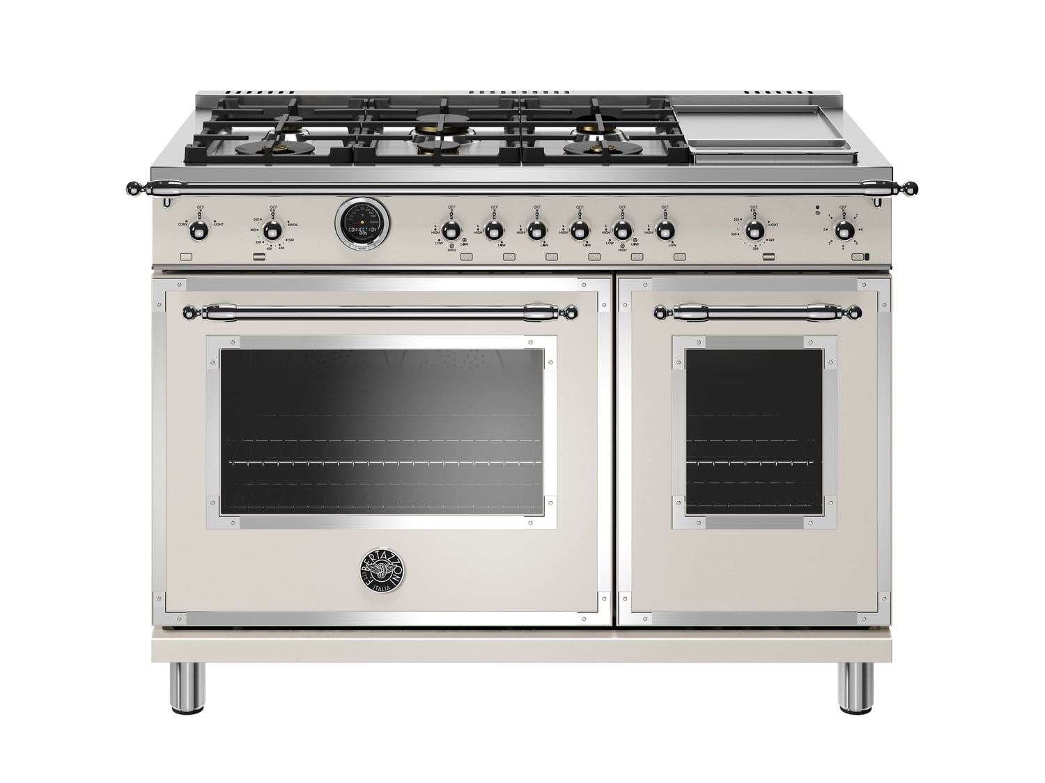 Load image into Gallery viewer, Bertazzoni HERT486GDFSAVT 48 Inch Dual Fuel Range, 6 Brass Burners And Griddle, Electric Self Clean Oven Avorio