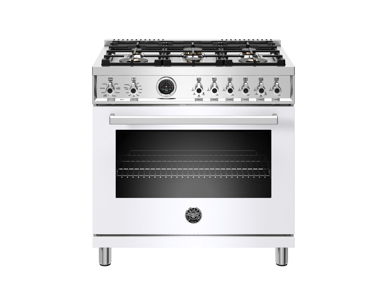 Load image into Gallery viewer, Bertazzoni PROF366DFSBIT 36 Inch Dual Fuel Range, 6 Brass Burner, Electric Self-Clean Oven Bianco