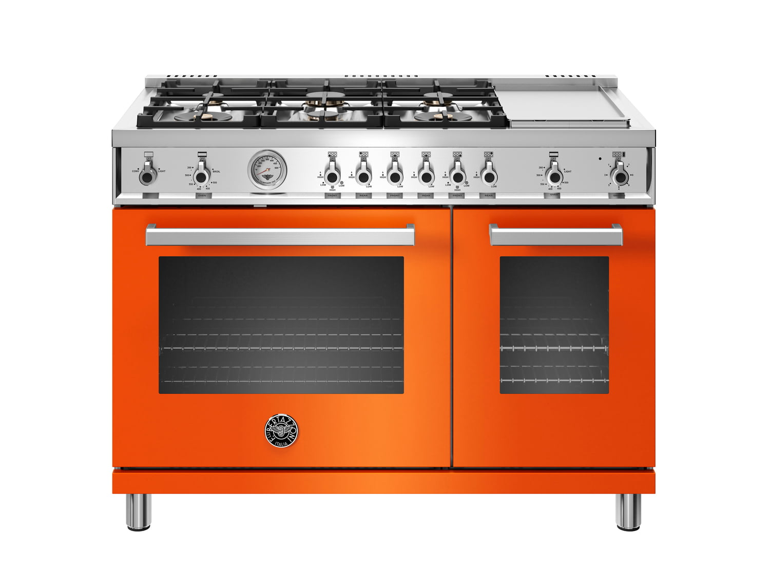 Load image into Gallery viewer, Bertazzoni PROF486GGASART 48 Inch All-Gas Range 6 Brass Burner And Griddle Arancio