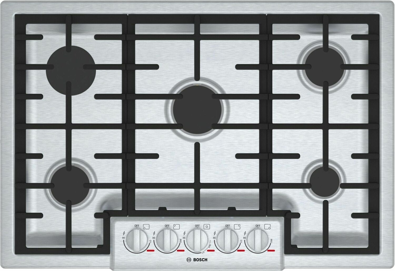"Load image into Gallery viewer, Bosch NGMP056UC Benchmark 30"" Gas Cooktop, 5 Burners, Stainless Steel"
