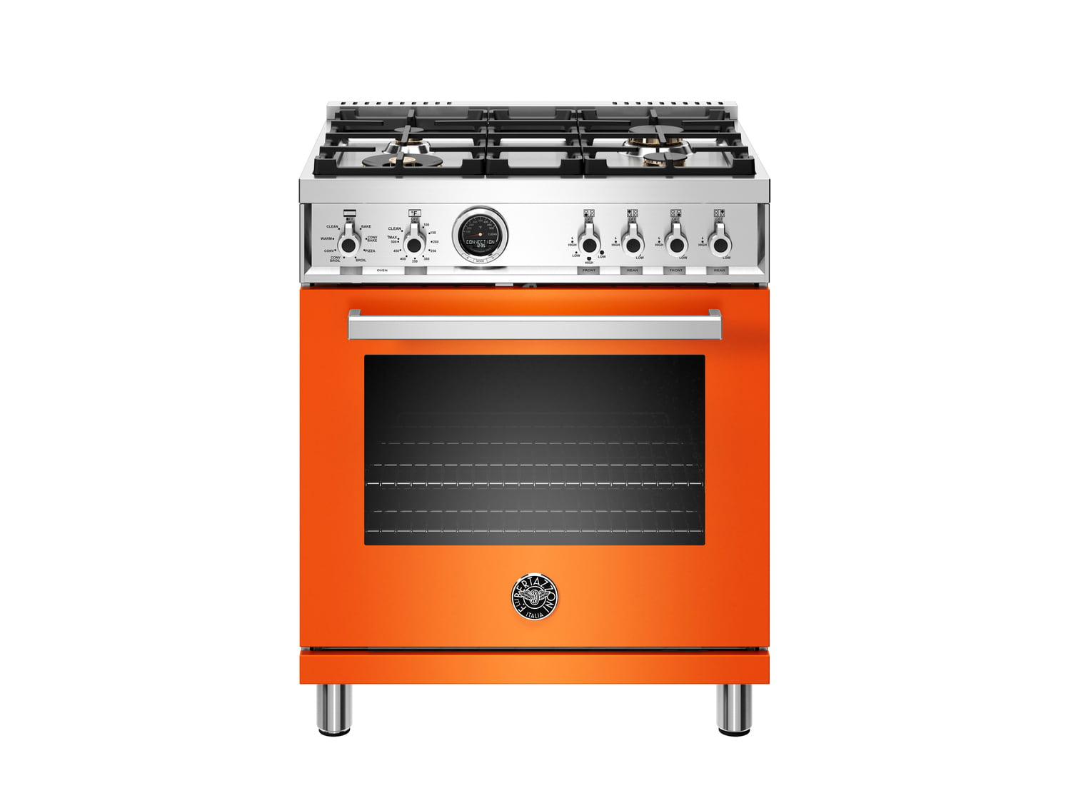 Load image into Gallery viewer, Bertazzoni PROF304DFSART 30 Inch Dual Fuel Range, 4 Brass Burner, Electric Self-Clean Oven Arancio
