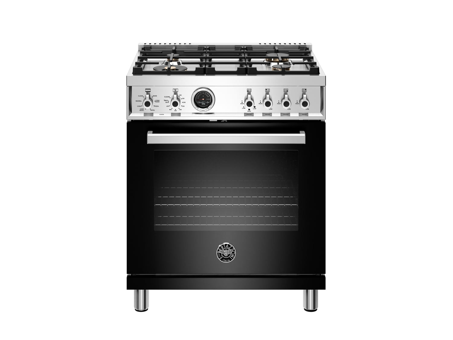 Load image into Gallery viewer, Bertazzoni PROF304DFSNET 30 Inch Dual Fuel Range, 4 Brass Burner, Electric Self-Clean Oven Nero