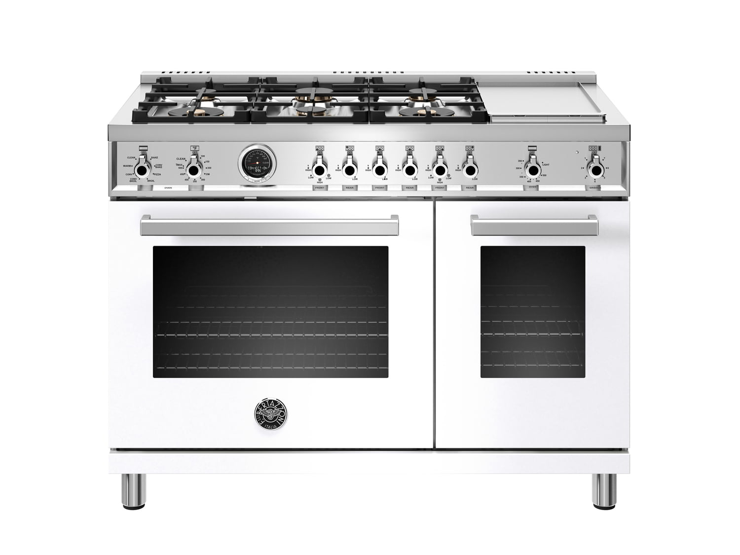 Load image into Gallery viewer, Bertazzoni PROF486GDFSBIT 48 Inch Dual Fuel Range, 6 Brass Burners And Griddle , Electric Self Clean Oven Bianco