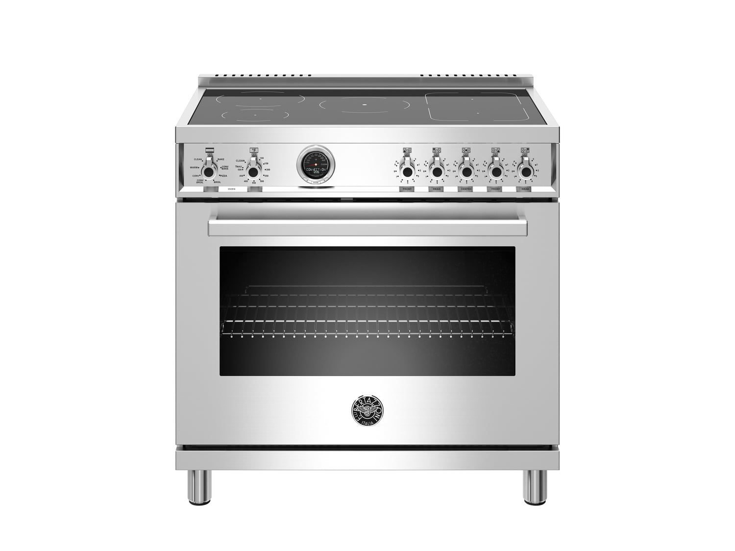 Load image into Gallery viewer, Bertazzoni PROF365INSXT 36 Inch Induction Range, 5 Heating Zones, Electric Self-Clean Oven Stainless Steel