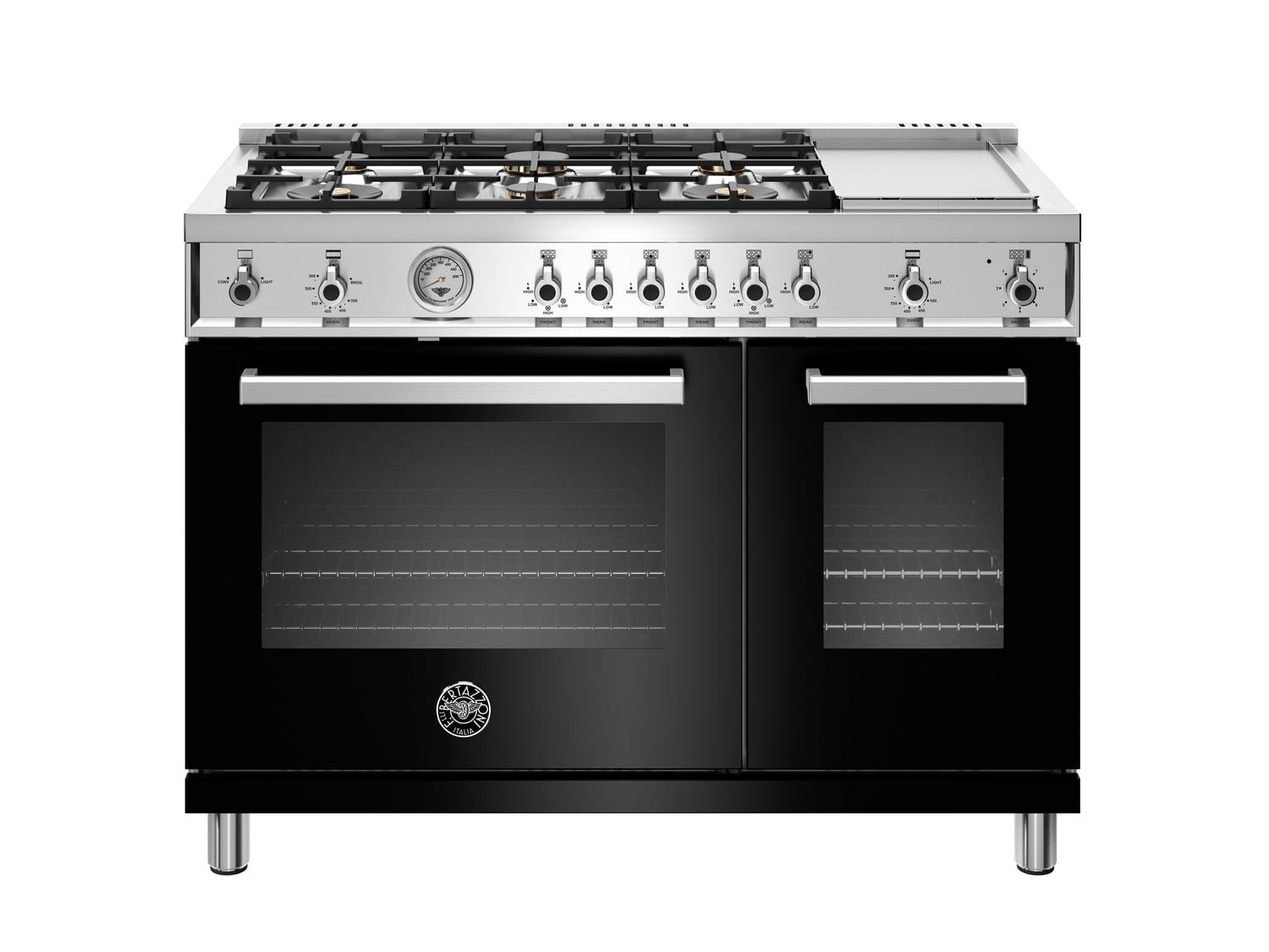 Load image into Gallery viewer, Bertazzoni PROF486GGASNET 48 Inch All-Gas Range 6 Brass Burner And Griddle Nero