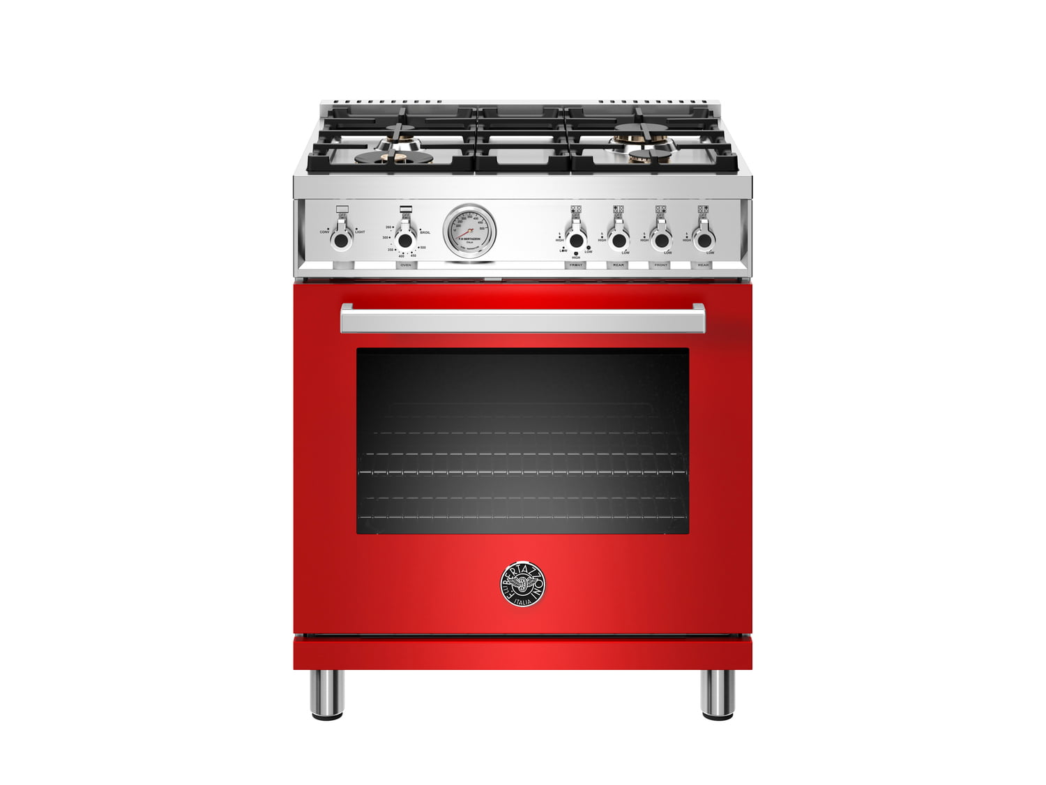 Load image into Gallery viewer, Bertazzoni PROF304GASROT 30 Inch All Gas Range, 4 Brass Burner Rosso
