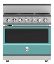 "Load image into Gallery viewer, Hestan KRD365NGTQ 36"" 5-Burner Dual Fuel Range - Natural Gas - Turquoise / Bora Bora"