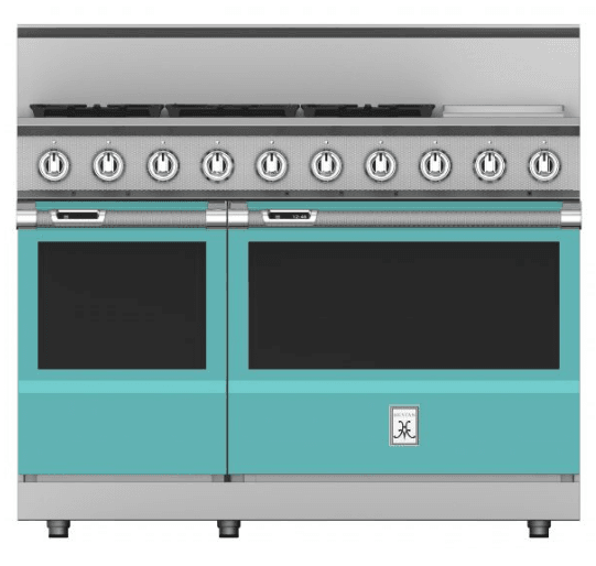 "Load image into Gallery viewer, Hestan KRD485GDNGTQ 48"" 5-Burner Dual Fuel Range With 12"" Griddle - Natural Gas - Turquoise / Bora Bora"