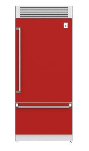 "Load image into Gallery viewer, Hestan KRPR36RD 36"" Pro Style Bottom Mount, Top Compressor Refrigerator - Right Hinge - Red / Matador"