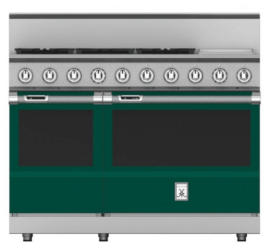 "Load image into Gallery viewer, Hestan KRD485GDNGGR 48"" 5-Burner Dual Fuel Range With 12"" Griddle - Natural Gas - Green / Grove"
