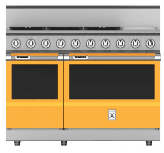 "Load image into Gallery viewer, Hestan KRD485GDNGYW 48"" 5-Burner Dual Fuel Range With 12"" Griddle - Natural Gas - Yellow / Sol"