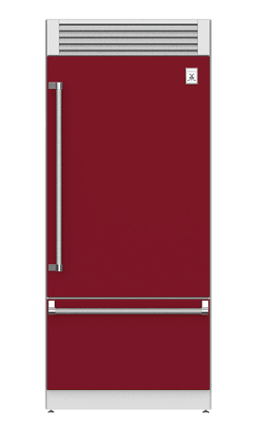 "Load image into Gallery viewer, Hestan KRPL36BG 36"" Pro Style Bottom Mount, Top Compressor Refrigerator - Left Hinge - Burgundy / Tin Roof"