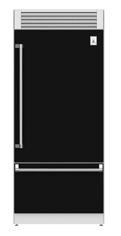 "Load image into Gallery viewer, Hestan KRPL36BK 36"" Pro Style Bottom Mount, Top Compressor Refrigerator - Left Hinge - Black / Stealth"