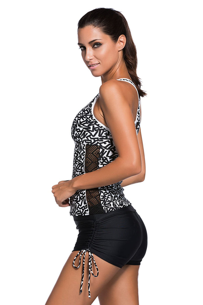 Active Monochrome Racerback Tankini and Swim Shorts - Tankinis - Sunny Angela