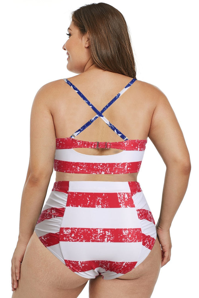 American Flag Strappy Neck Detail High Waist Swimsuit - Swimwear - Sunny Angela