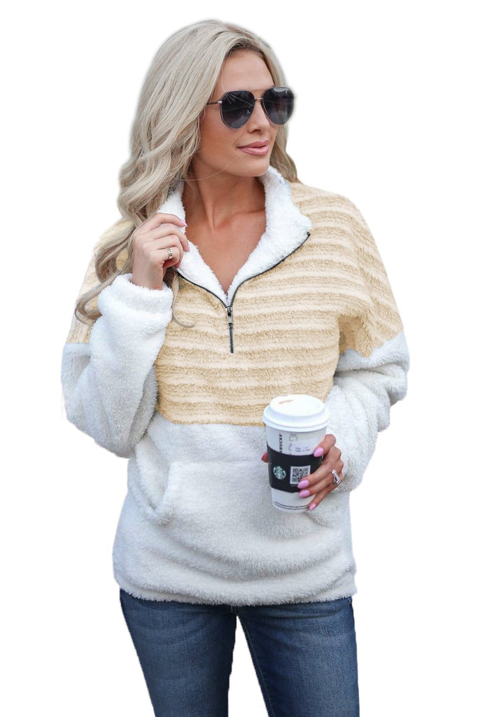 Apricot Fuzzy Striped Furry Sweatshirt - Sweatshirts & Hoodies - Sunny Angela