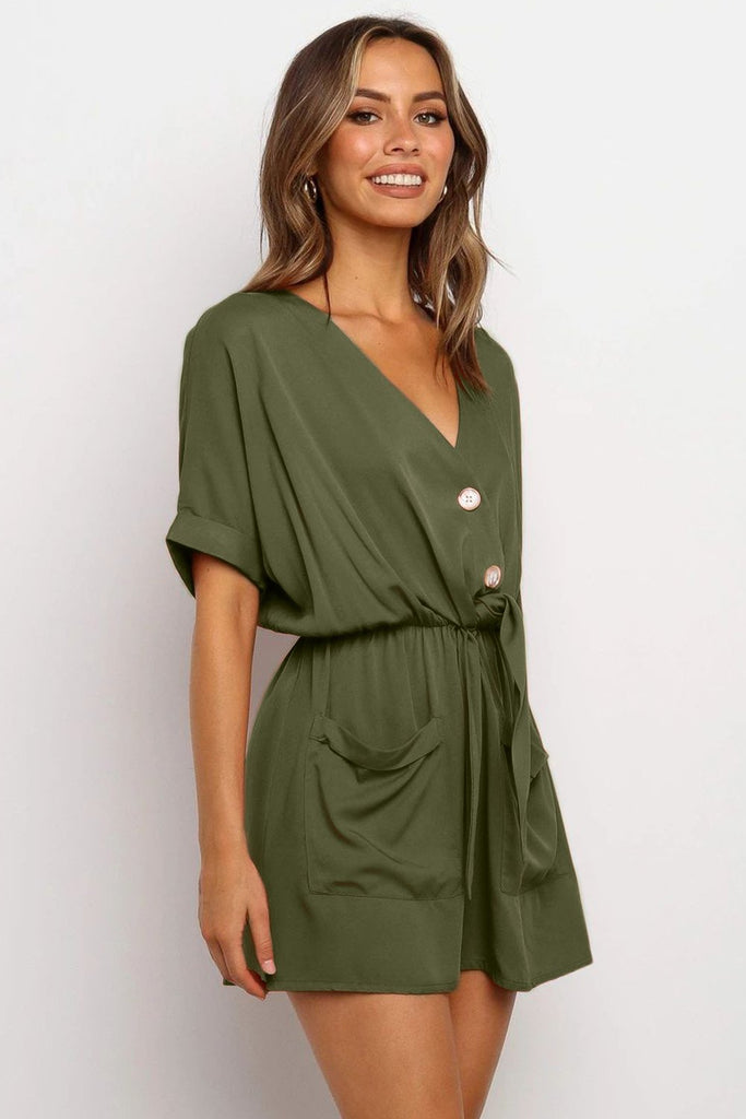 Army Green V Neck Tunic Romper with Pockets - Jumpsuits & Rompers - Sunny Angela