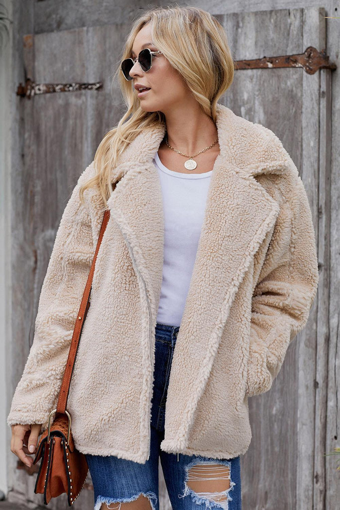 Beige Breaker Pocketed Sherpa Statement Jacket - Suits & Coats - Sunny Angela