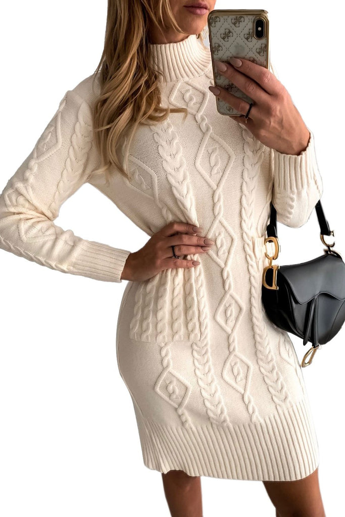 Beige High Neck Textured Bodycon Sweater Dress - XL - Dresses - Sunny Angela