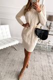 Beige High Neck Textured Bodycon Sweater Dress - L - Dresses - Sunny Angela