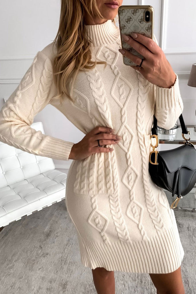 Beige High Neck Textured Bodycon Sweater Dress - M - Dresses - Sunny Angela