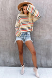 Beige Rainbow Stripe Pattern Sweater - XL - Sweaters & Cardigans - Sunny Angela