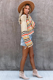 Beige Rainbow Stripe Pattern Sweater - 2XL - Sweaters & Cardigans - Sunny Angela