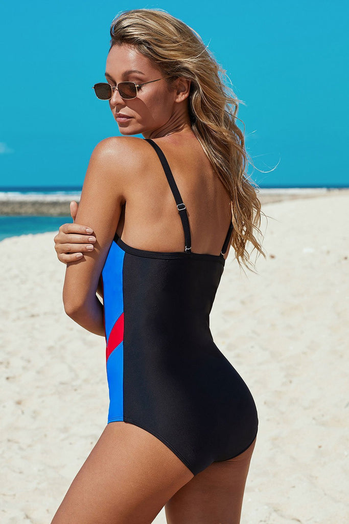 Black Athletic Color Block Spaghetti Straps One-piece Swimsuit - One-Piece Swimwear - Sunny Angela