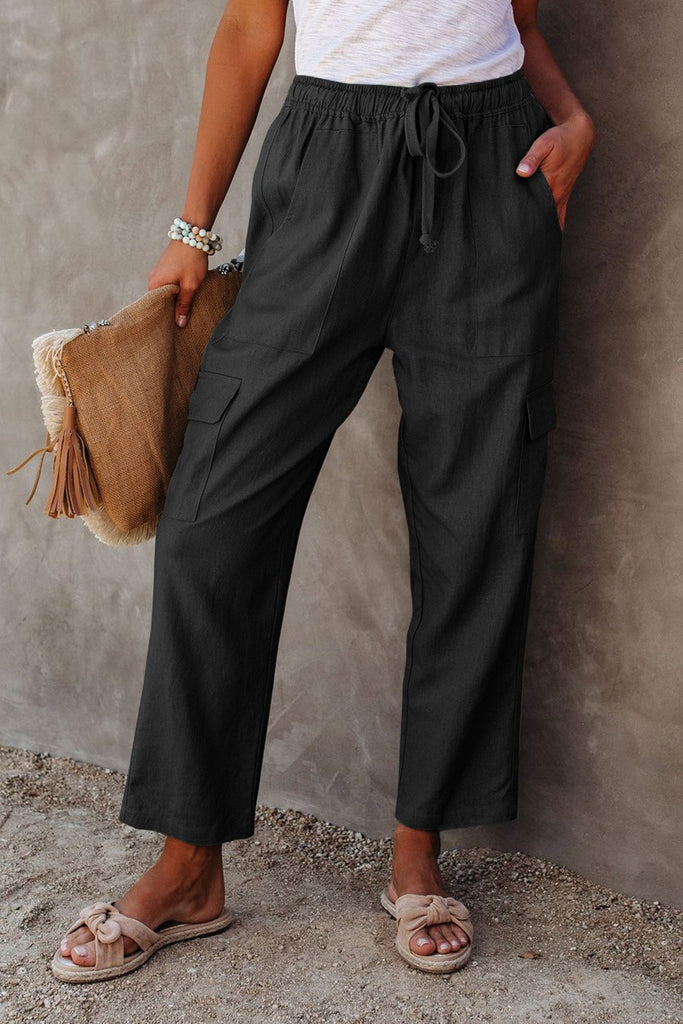 Black Driven Linen Blend Pocketed Cargo Pants - S - & Culotte - Sunny Angela