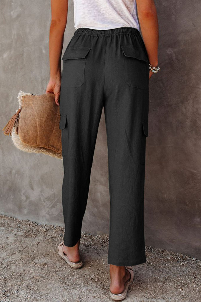 Black Driven Linen Blend Pocketed Cargo Pants - M - & Culotte - Sunny Angela