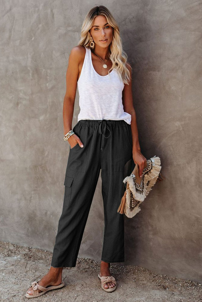 Black Driven Linen Blend Pocketed Cargo Pants - XL - & Culotte - Sunny Angela