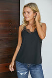 Black Eyelash Lace Trim Cami Tank - Tops - Sunny Angela