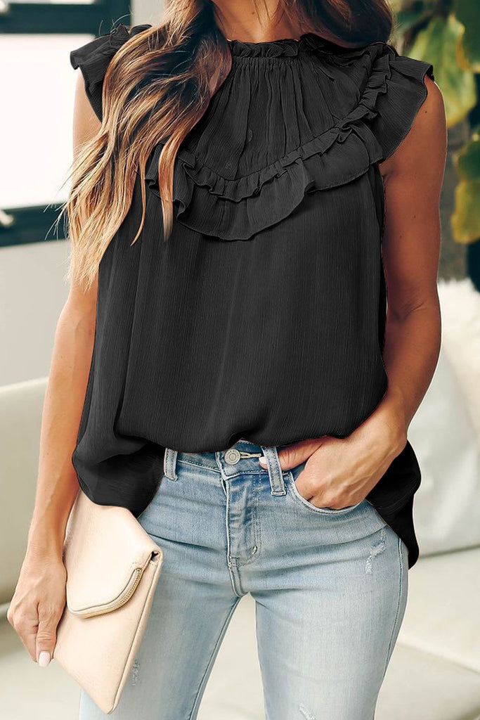 Black Frilled Detail Tulle Tank Top - S - Tops - Sunny Angela