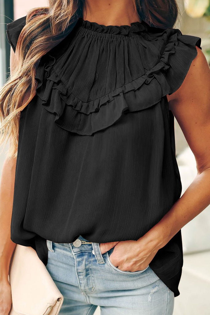 Black Frilled Detail Tulle Tank Top - XL - Tops - Sunny Angela
