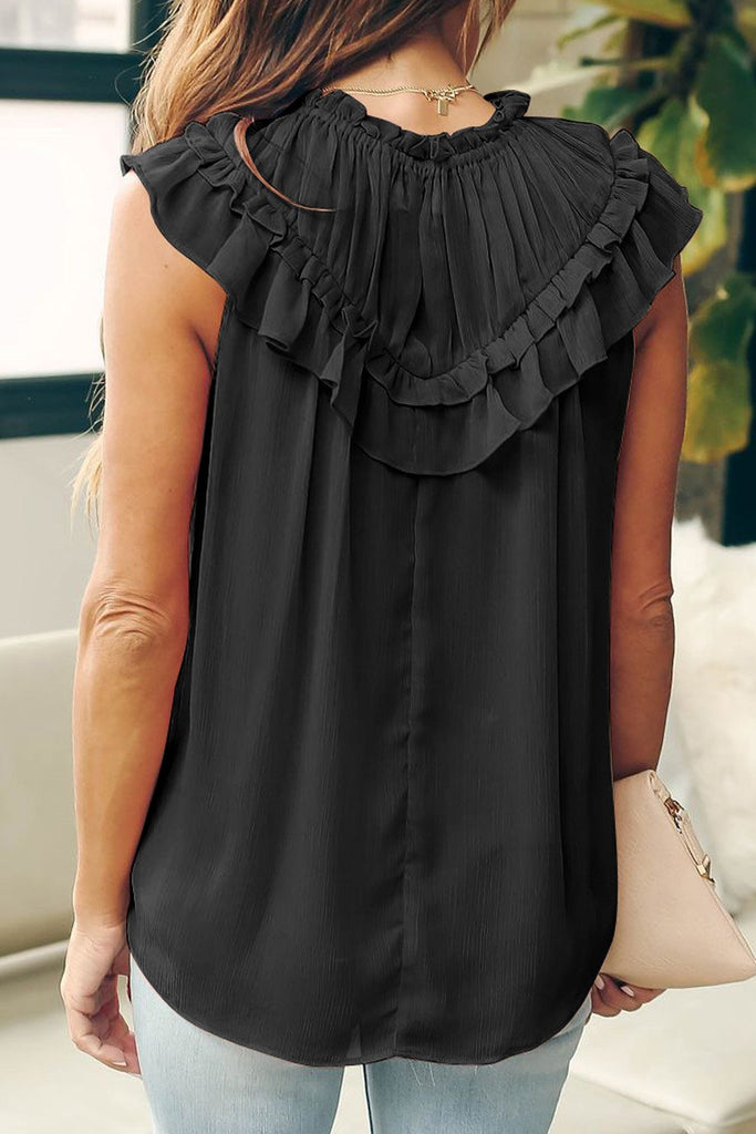 Black Frilled Detail Tulle Tank Top - M - Tops - Sunny Angela