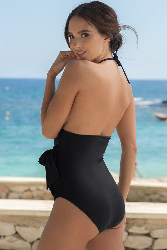 Black High Neck Ruched Monokini Swimwear with Self Tie Strap - One-Piece - Sunny Angela