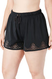 Black Laser Cut Swim Short with Tummy Control - Bottoms - Sunny Angela