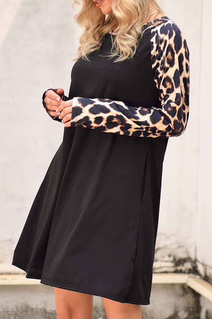 Black Leopard Splicing Pocket Mini Dress - L - Dresses - Sunny Angela