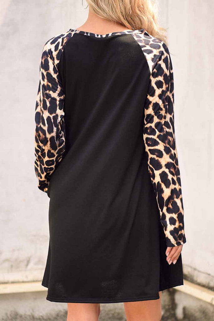 Black Leopard Splicing Pocket Mini Dress - M - Dresses - Sunny Angela