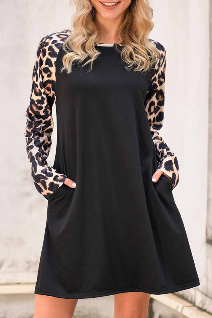 Black Leopard Splicing Pocket Mini Dress - S - Dresses - Sunny Angela
