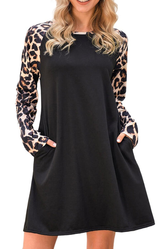 Black Leopard Splicing Pocket Mini Dress - XL - Dresses - Sunny Angela