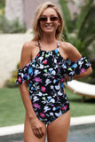 Black Off Shoulder Ruffled Sleeve Criss Cross Back Floral Monokini - One-Piece Swimwear - Sunny Angela