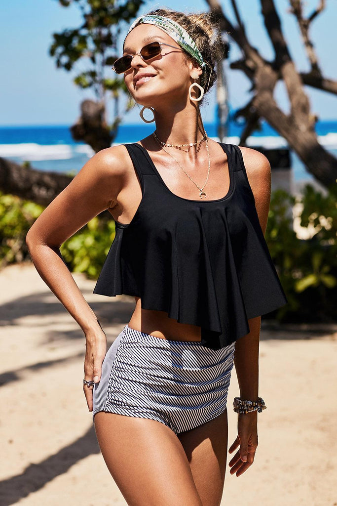 Black Print Crop Ruffled Overlay High Waist Tankini - Swimwear - Sunny Angela