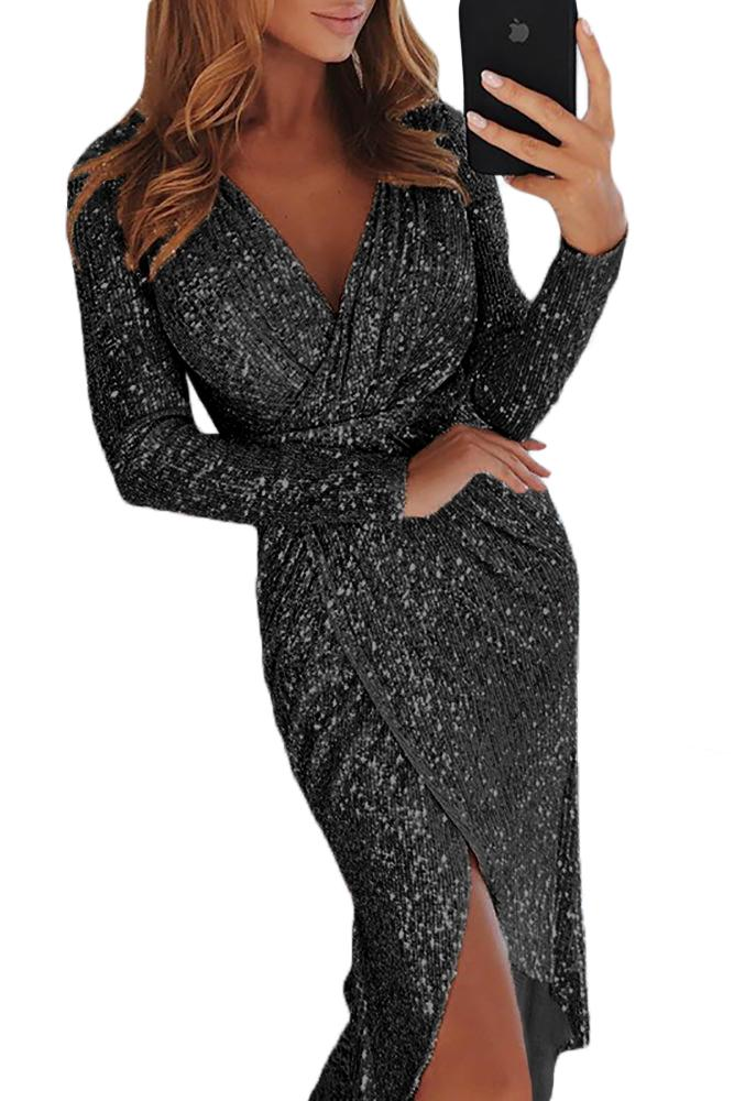 Black Sequins Wrapped Ruched Irregular Dresses - Evening - Sunny Angela