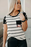 Black Striped T-shirt with Patch Pocket - L - Tops & Tees - Sunny Angela
