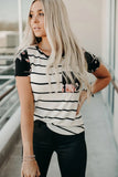 Black Striped T-shirt with Patch Pocket - M - Tops & Tees - Sunny Angela