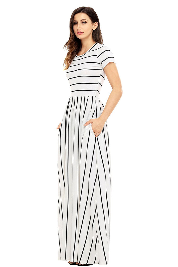 Black Striped White Short Sleeve Maxi Dress - Dresses - Sunny Angela