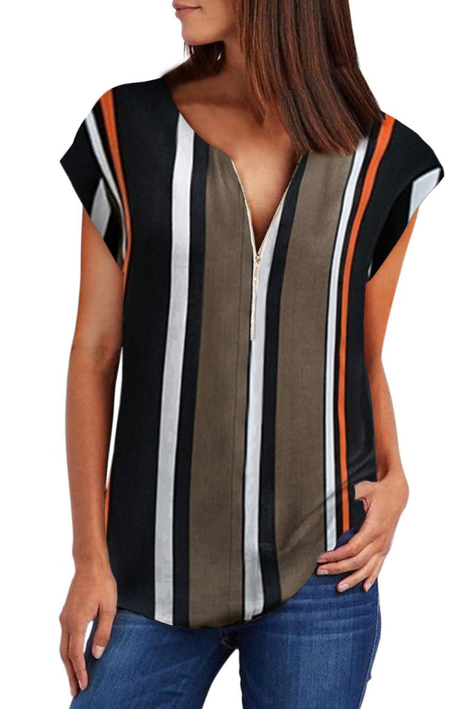 Black V Neck Stripes Roll up Short Sleeve Zip Up Blouse - Blouses & Shirts - Sunny Angela