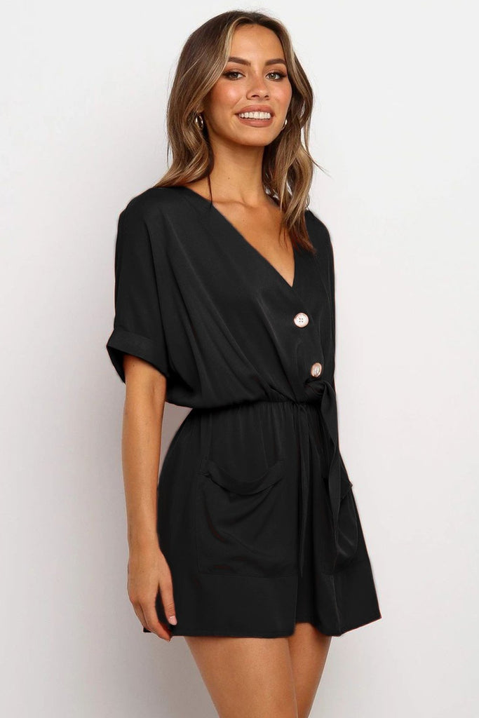 Black V Neck Tunic Romper with Pockets - Jumpsuits & Rompers - Sunny Angela
