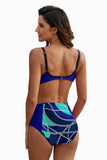 Blue Abstract Chains Print High Waist Bikini - Swimwear - Sunny Angela